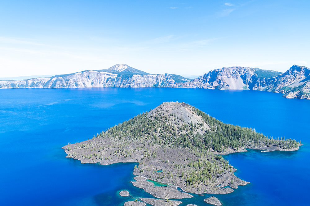 crater lake in oregon over exposed